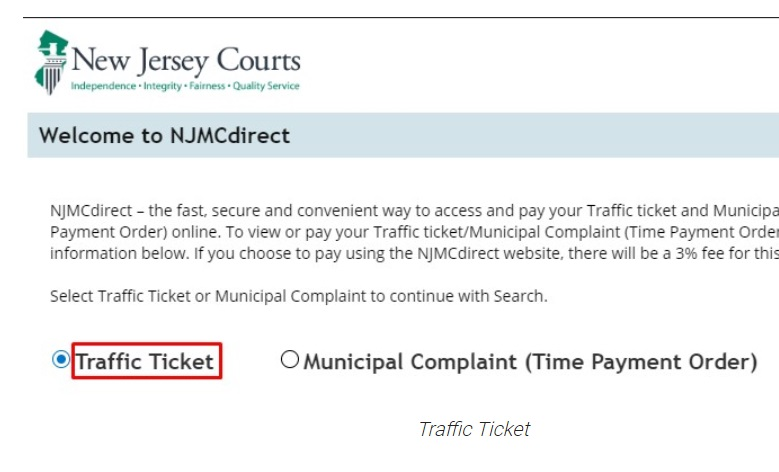 New Jersey traffic ticket Payment online website